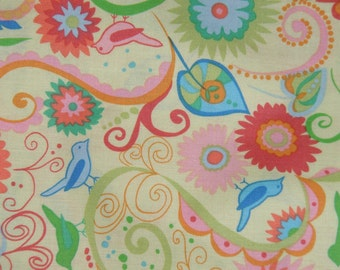 Valon Wells  Fat Quarter, 1/2 yard or by the yard Nest Paisley summer designer fabric From Free Spirit cotton fabric