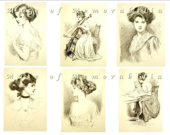 NEW EASY Digital Download Gibson Girls Black and White Collage Sheet No. 2