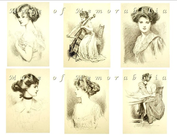 GIBSON GIRLS Digital Download Black and White Collage Sheet No. 2 - Cello, Cellist, Mother - Charles Dana Gibson
