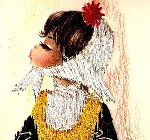 Silk Embroidered Postcard 1960's Gallarda - Spanish Chica - Pretty Girl