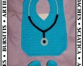 Doctor's Orders Bib and Bootie Crochet Pattern PDF - INSTANT DOWNLOAD.