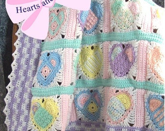 Hearts and Flowers Baby Afghan or Blanket Crochet Pattern PDF - INSTANT DOWNLOAD.