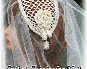 Bridal Fascinator Veil Crochet Pattern PDF - INSTANT DOWNLOAD.