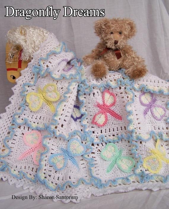 Dragonfly Dreams Crochet Baby Afghan or Blanket Pattern PDF- INSTANT DOWNLOAD.