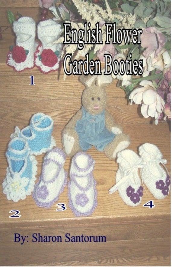 English Flower Garden Booties Crochet Pattern PDF - INSTANT DOWNLOAD.