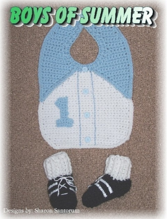 Boys and Girls of Summer Bib and Bootie Crochet Pattern PDF - INSTANT DOWNLOAD.
