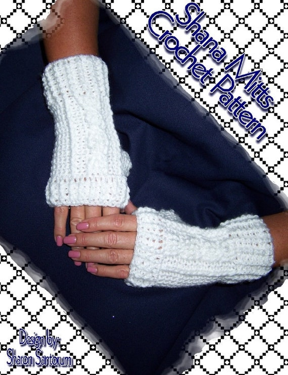 Free Crochet Patterns For Fingerless Gloves And Mitts : Shana Mitts Fingerless Glove Crochet Pattern PDF INSTANT