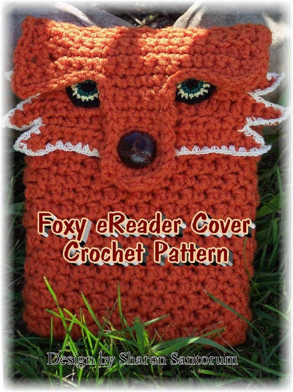 Foxy eReader Cover Crochet Pattern PDF - INSTANT DOWNLOAD.