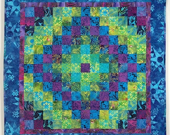 Blue Green Purple Patchwork Wall Quilt - Coral Reef