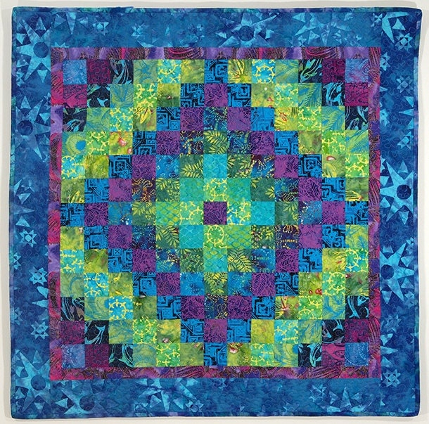 Blue Green Purple Patchwork Wall Quilt Coral Reef