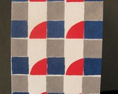 Geometric Blue Grey and Red Hand-Painted Card