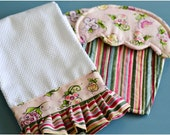 Cupcake Hot Pads with Matching Ruffled Hand Towel (Pink Floral & Stripe)