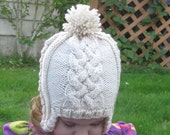 Hat, Hand Knit Cap, Cable Ear flap Hat, Pom Pom, Any Color Any Size, Infant Toddler Child Teen Adult