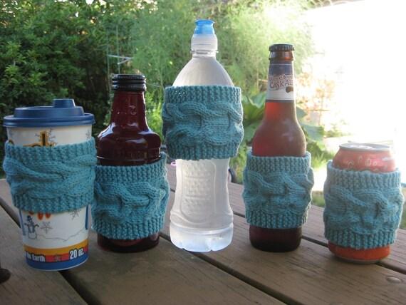 Coffee Cup Cozy, Hand Knit Tea Sleeve, Sea Foam, Teacher Student Graduation Gift, Wedding Favor