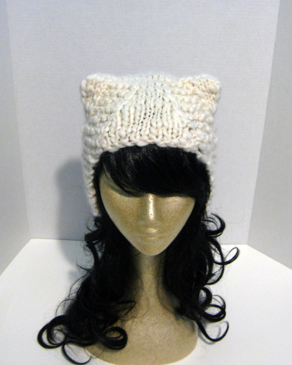 Hand Knit Hat, Ear Hat, Animal Hat, Thick And Thin Yarn Hat, Wool Hat, Knit Wool Hat, White Cream Off White Polar Bear Cloud, Ready To Shipp