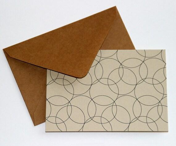 Notecard Stationery Set w/ Modern Thin Circles Pattern (12 cards)