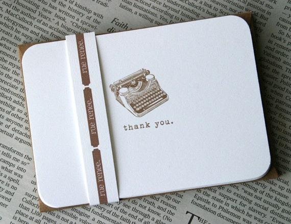 Retro Typewriter Thank You Notes stationery set (20 cards)