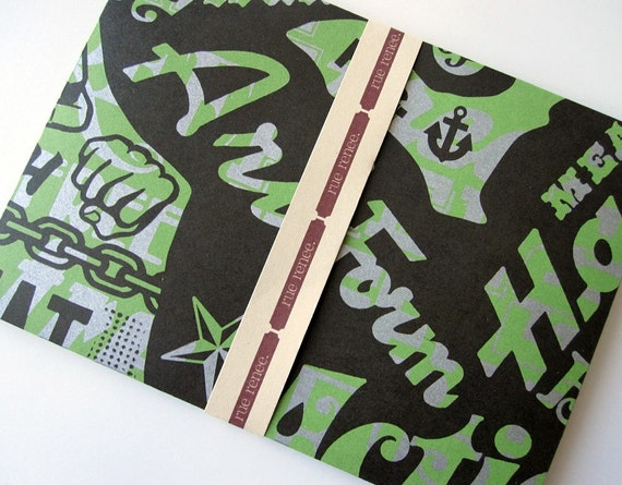 Handmade Envelopes upcycled with green inserts and 4 free mini cards