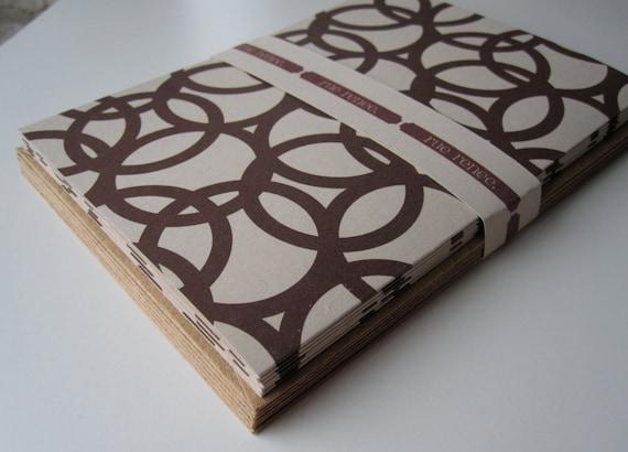 Notecard Stationery Set w/ Dark Brown Circles Pattern  (6 cards)
