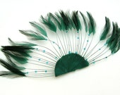 FOREST GREEN Half Circle Feather Applique. DIY craft item for millinery, masks, costumes, headdresses, headbands and hair clips (1 Appliqué)