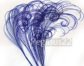 ROYAL PURPLE peacock feather sprigs (5 -8 Inches Long)(4 SPRIGS) curled for hats,fascinators,headdresses,brooch bouquet,costume,cosplay