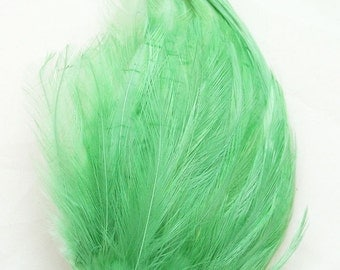 Mint GREEN Feather Pad (rooster feather) Applique for millinery,mardi gras mask,costume hat,flapper feather fascinator,children headband