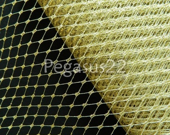 METALLIC GOLD French Netting for D.I.Y.  Birdcage or Victorian blusher veils, hair accessories and costume projects (Sold by the Yard)