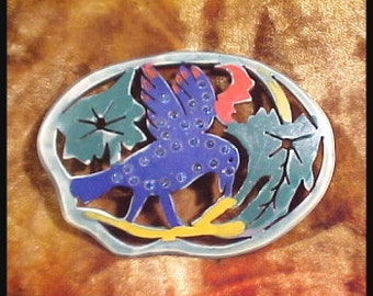 Vintage Celluloid Cut Out Blue Bird with Pave Rhinestones Decorative Applique Collectible Accessories