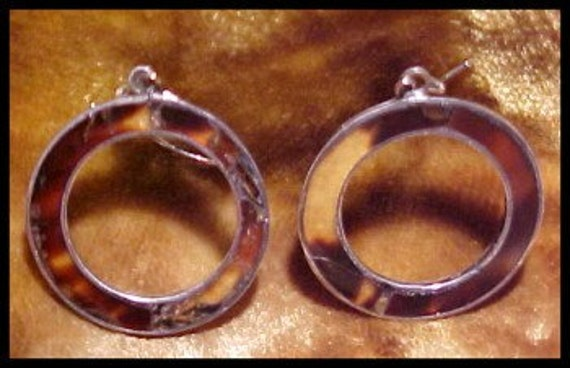 ON HOLD  Vintage Mexican Earrings Tortoise Shell and Sterling Hoop Earrings signed  J R C