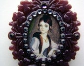 April December portrait from the Haunted Mansion sparkling pendant necklace
