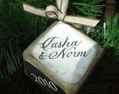 Personalized Vintage-style Wedding Ornament