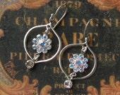 Dangle Earrings, Sterling & Swarovski crystal dangle Earrings, Handmade Jewelry, Handmade Earrings, Silver, White, Bridal, Snow Flurries