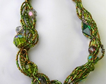 Emerald Crystal Statement Fantasy Necklace -Bold with vintage crystals