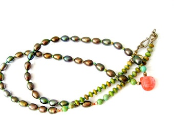 Pearl Necklace - BLACK CHERRY Fresh water pearl necklace-Handmade Pearl Turquoise Cherry Quartz Long