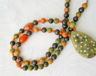 Long Necklace - Chocolate Pearls, Unakite, Carnelian, crystal peach Olive green necklace-Handmade necklace