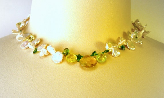 Keishi Freshwater Pearl Necklace White Keshi Pearl necklace with green and lemon gems, free shipping