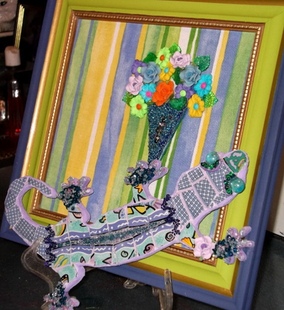 Gekko in the Garden Mosaic