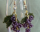 Harvest Grape Handmade Beaded Earrings