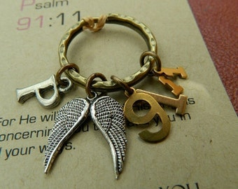 Christian gifts-Psalm 91:11-For He will command His angels to guard you in all your ways-christian keyring