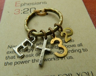 CHRISTIAN KEYRING, Scripture, Ephesians 3:20 keyring-Now to him who is able to do immeasurably more than all we ask or imagine