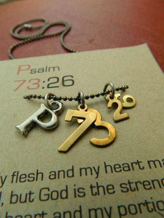 Psalm 73:26 christian necklace-My flesh and my heart may fail, but God is the strength of my heart and my portion forever-scripture jewelry