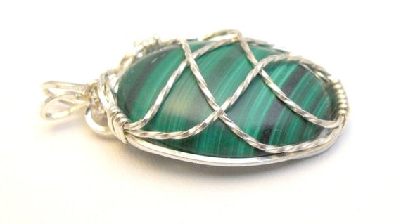 Malachite Pendant CrissCross Design