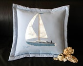 "Outdoor pillow sailboat 20"" pillow sailing nautical ship boat sloop ketch ocean coastal indoor outdoor  Crabby Chris Original"