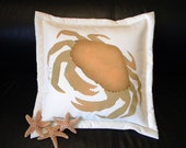 Outdoor pillow CRAB with the GOLDEN CLAWS coastal crabs bungalow seashore shell seaside vacation island crustacean Crabby Chris Original