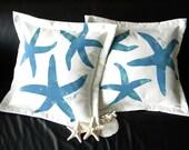 "Outdoor pillow THREE STARFISH BLUE green sea star 20"" (50cm)  ocean beach cabin nautical Crabby Chris Original echinoderm"