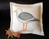 "Outdoor pillow SEAGULL 20"" coastal painted beach gull kleptoparasite seashore birding shelling shoreline vacation Crabby Chris Original"
