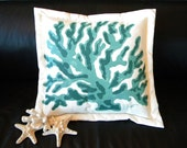 "Outdoor pillow FINGER CORAL TURQUOISE 20"" jade teal forest green hunter coastal beach tropical ocean marine nautical Crabby Chris Original"