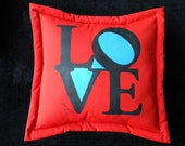 """L O V E outdoor pillow 20"""" red blue black seventies groovy Robert Indiana pop art graphic message postage stamp Crabby Chris Original"""