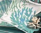"Outdoor pillow TWO CORALS 20"" (50cm) painted green blue coastal ocean beach shelling SCUBA marine aquarium tropical Crabby Chris Original"