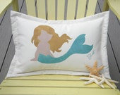 """Outdoor pillow LITTLE MERMAID BLONDE 14""""x20"""" (35x50cm) lumbar merfolk coastal beach ocean all weather Crabby Chris Original"""